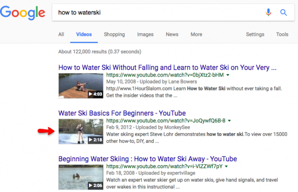 how to optimize videos waterski google search