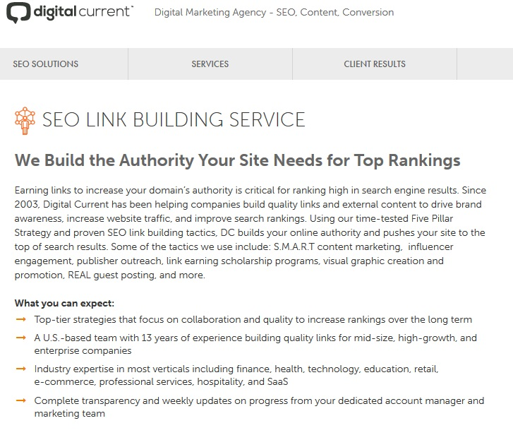 digital current link building services