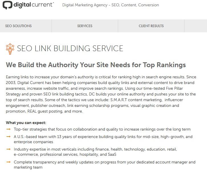 digital current link building services