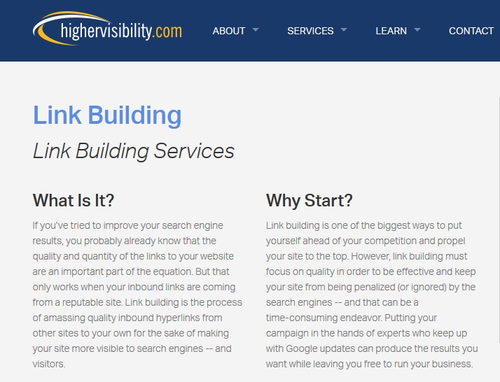 higher visibility link building services