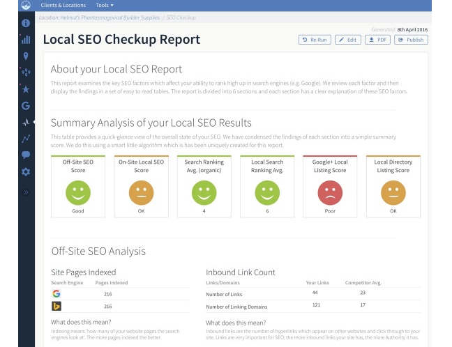 BrightLocal seo report